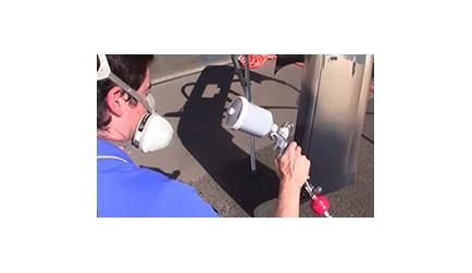 Apply automotive base coat paint with spray gun