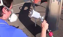 Apply automotive base coat paint with spray gun