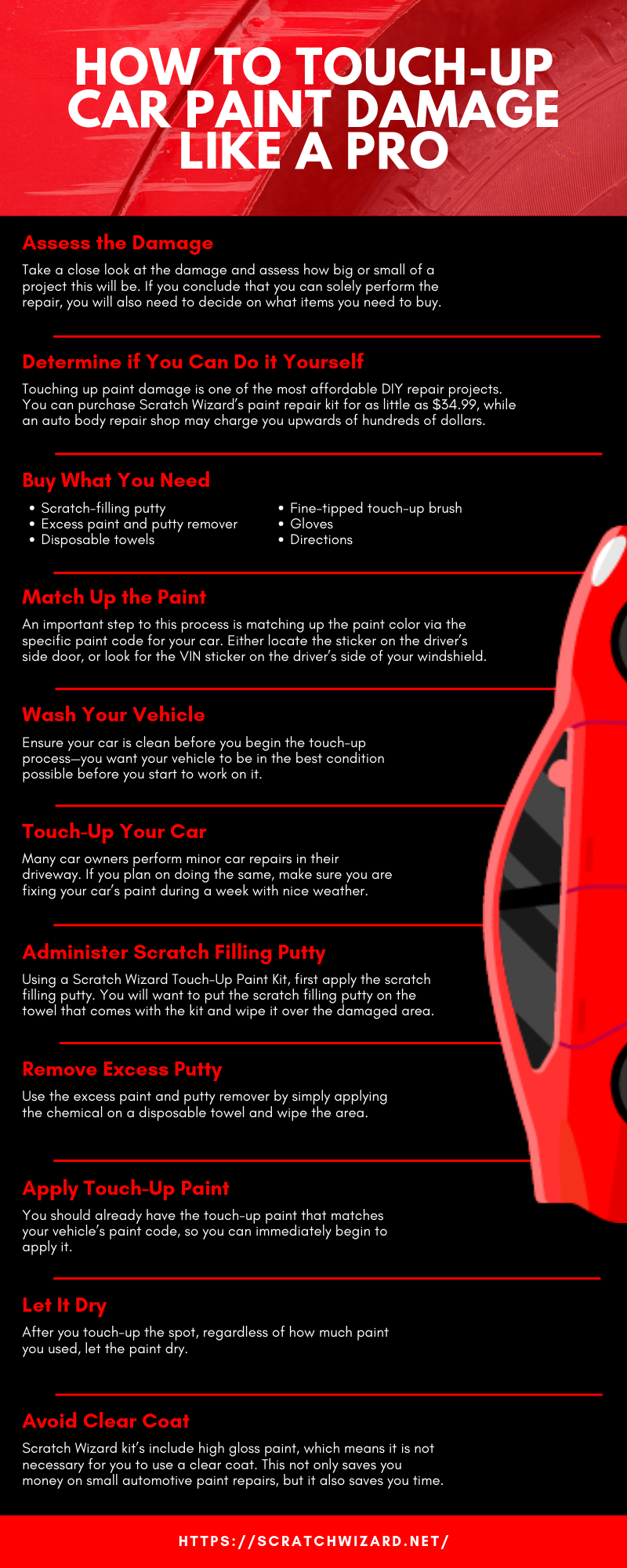 How to Touch-Up Car Paint Damage Like A Pro infographics